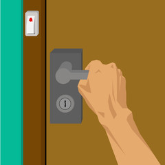 Hand are opening the door