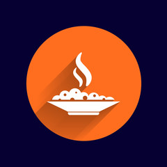 Hot meal cup steamy bowl food court logo