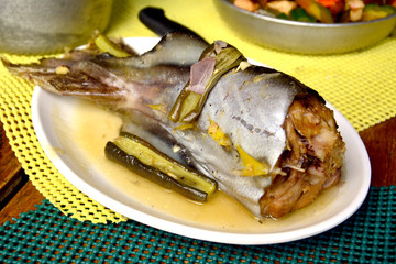 Tuna tail on plate photo image