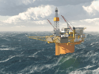 Oil platform in the stormy ocean