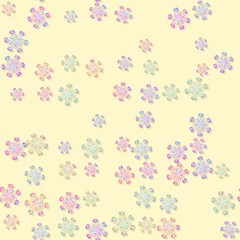 Seamless rainbow colored snowflakes pattern