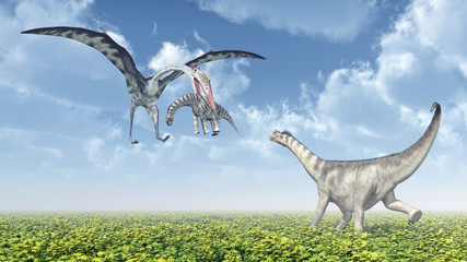 Quetzalcoatlus attacks a Camarasaurus