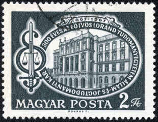 stamp printed in Hungary shows Faculty Building