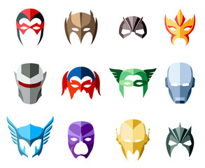 Vector super hero masks for face character in flat style