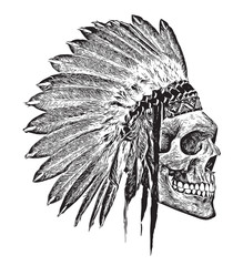 t-shirt graphics/Indian Headdress/skull illustration/skull poster/skull tattoo graphic/black and white skull and crossbones graphic