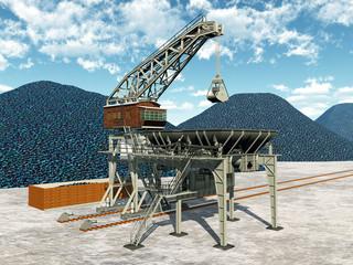 Kohleverladestation und Kohlehalde