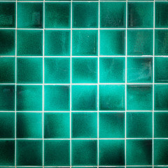 Old pattern green ceramic bathroom wall tile texture and backgro