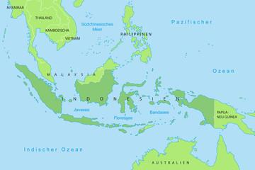 Indonesien - Karte in Grün