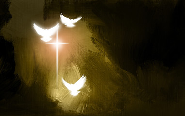 Spiritual Doves and Salvation Cross / Art symbolic of the salvation of Jesus Christ. Use as background or feature illustration.