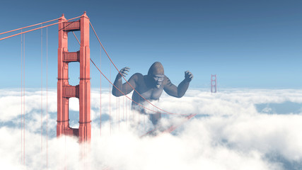 Golden Gate Bridge and Giant Gorilla