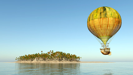 Fantasy hot air balloon and island