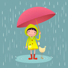 Cute girl and friends with red umbrella in rainy season
