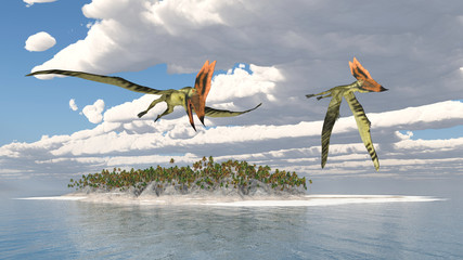 Pterosaur Thalassodromeus over an island