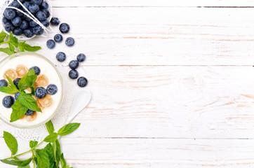 Yogurt with muesli and blueberries.