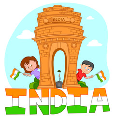 Indian brother and sister with flag of India