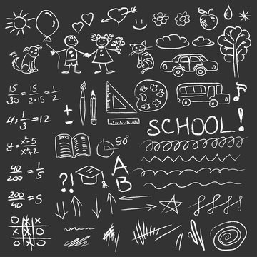 Back to school doodles set on blackboard. Vector illustration.