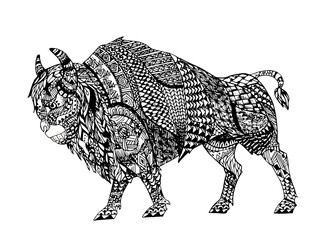 Zentangle stylized Black Bison.