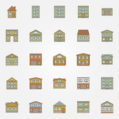 Buildings colorful icons
