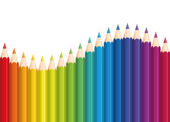 Colored pencils that form a rainbow colored wave. Isolated vector illustration on white background.