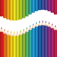Crayons or colored pencils that form a rainbow colored wave. Seamless background can be created in all directions. Isolated vector illustration on white background.