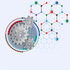 Design template for abstract science background; Three dimensions cogwheels correct geared, artistic designed inside of graduated futuristic device on hexagonal chemical structure