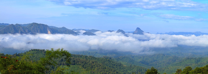 Billowing mist flowing through the blue ridge mountains.Landscape sea cloud on the mountains.