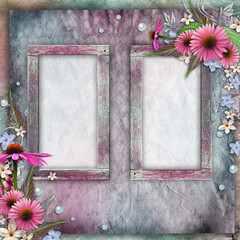 Greeting card with frames, flowers, pearls