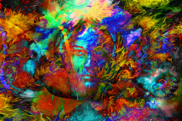 mystic face women with butterflies, color background collage. ey