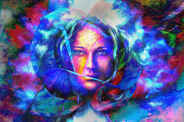 mystic face women, color background collage. eye contact