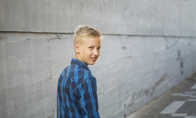 Boy's portrait in a blue shirt