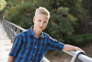 Boy's portrait in a blue shirt