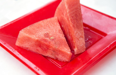 water-melon on a red plate