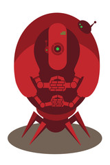 Large red alien robot with 4 arms and spider legs isolated on white