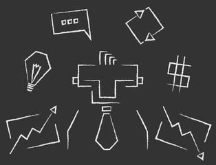 Blackboard line art rectangular business infographics icons