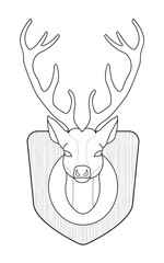 Hunting trophy. Stuffed taxidermy deer head with big antlers in wood shield. Line art. Illustration isolated on white