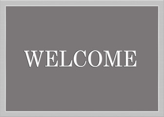 Silver welcome sign