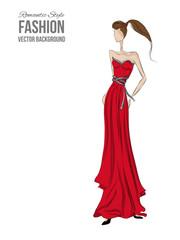 Model Romantic Dress Red
