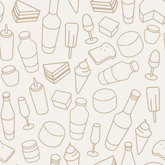 Vintage food thin line icon seamless pattern.