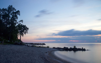 Lake Erie Beach in Evening