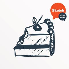 Hand drawn cake. Sketched bite of sweet dessert.