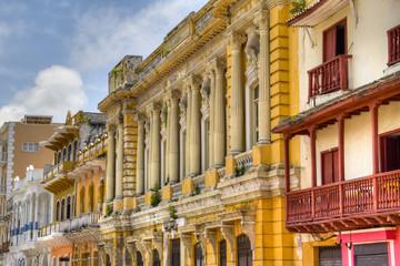 Colonial facades at Cartagena, Colombia