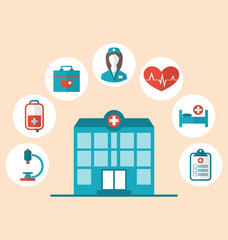Flat trendy icons of hospital and another medical objects, moder