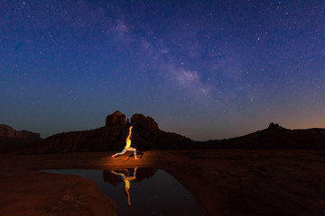 Yoga Under the milky Way at Cathedral Rock
