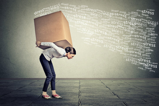 Stressed woman carrying on her back shoulders large box.