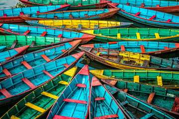 Foto auf Acrylglas Nepal Colorful boats