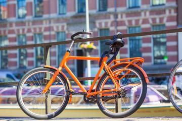 Bikes on the bridge in Amsterdam, Netherlands