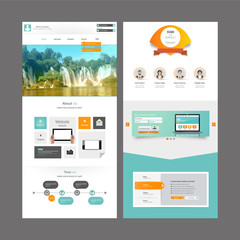 Business Modern Clean One page website design template. Vector Design