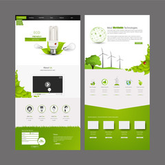Eco One page website design template. Vector Design