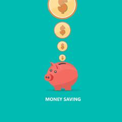 Pig Money Box Vector Flat Illustration.