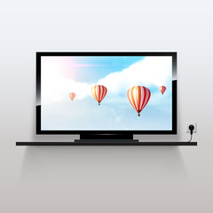 Vector lcd tv monitor, with beautiful fantasy background,